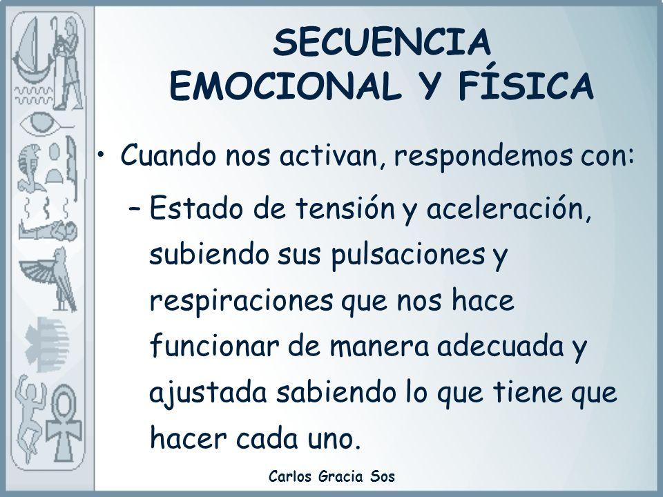 Carlos Gracia Sos Cuando nos activan, respondemos con: –Estado de tensión y aceleración, subiendo sus pulsaciones y respiraciones que nos hace funcion