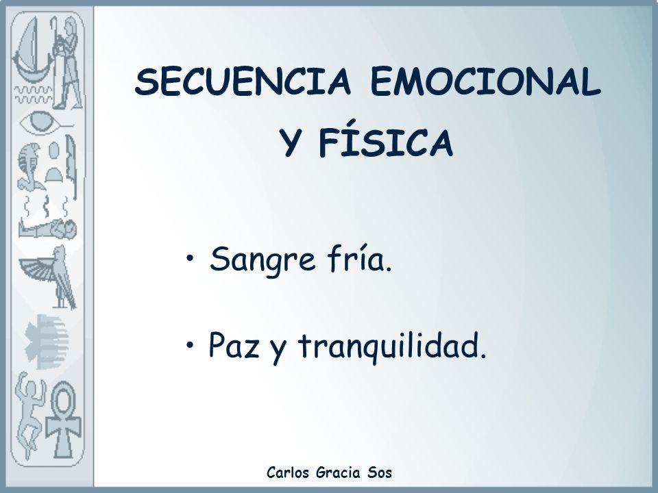 Carlos Gracia Sos Sangre fría. Paz y tranquilidad. SECUENCIA EMOCIONAL Y FÍSICA