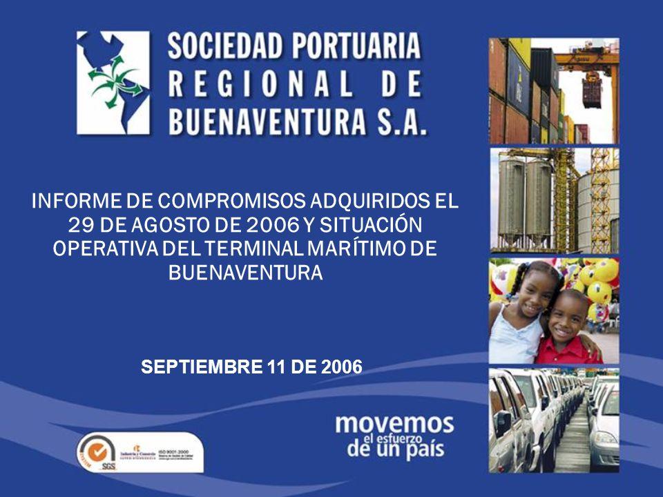 INVENTARIO ZONA FRANCA (Tecnobell) 8 de Septiembre 2006 145 Contenedores vacíos 1.176 Vehículos de importación 38 tubos de exportación