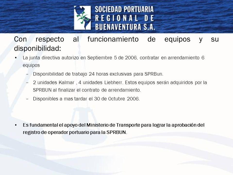 Con respecto al funcionamiento de equipos y su disponibilidad: La junta directiva autorizo en Septiembre 5 de 2006, contratar en arrendamiento 6 equip