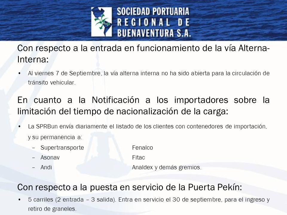 Con respecto a la entrada en funcionamiento de la vía Alterna- Interna: Al viernes 7 de Septiembre, la vía alterna interna no ha sido abierta para la