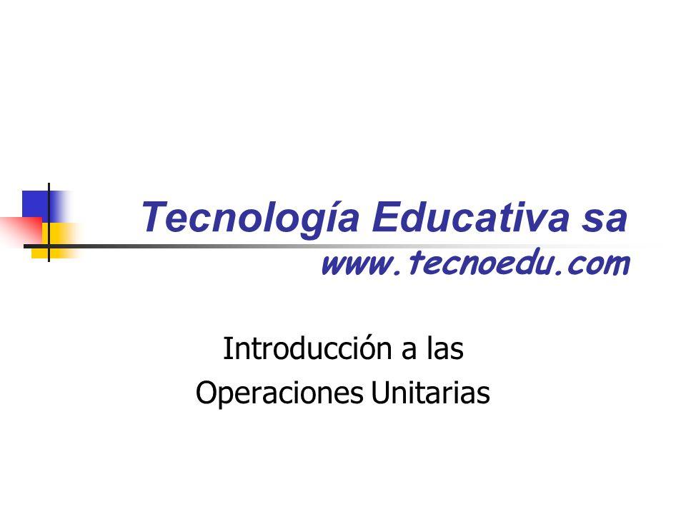 Tecnología Educativa sa www.tecnoedu.com Introducción a las Operaciones Unitarias