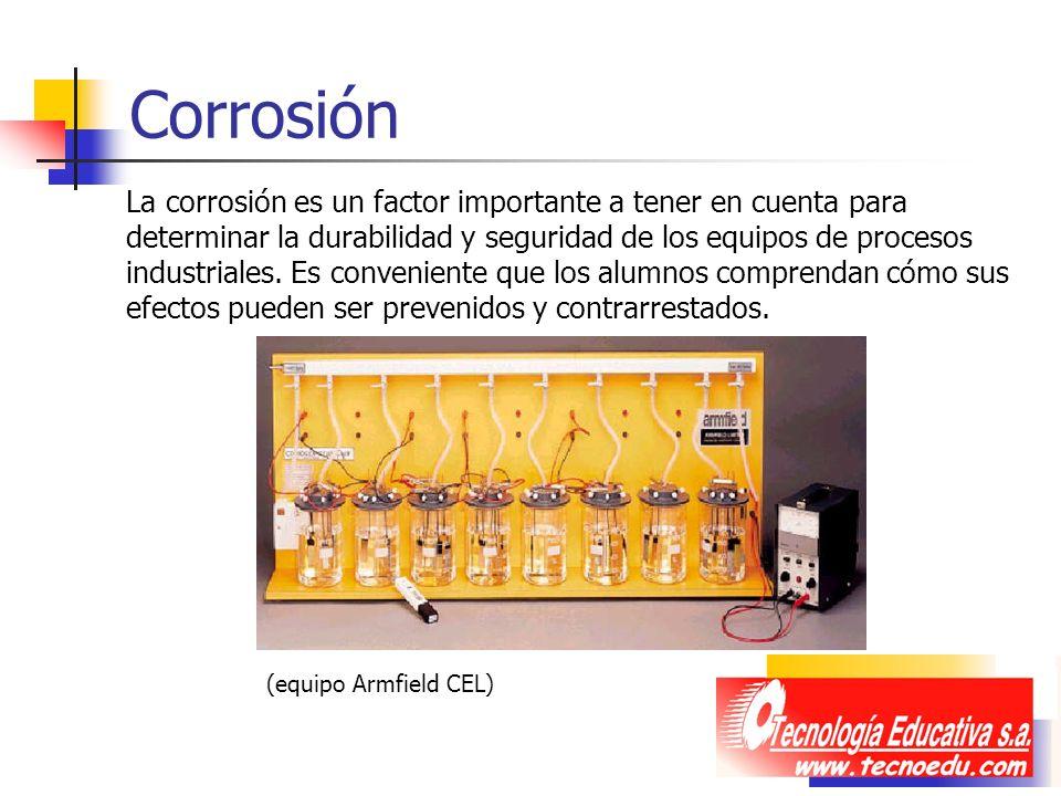 Corrosión La corrosión es un factor importante a tener en cuenta para determinar la durabilidad y seguridad de los equipos de procesos industriales. E