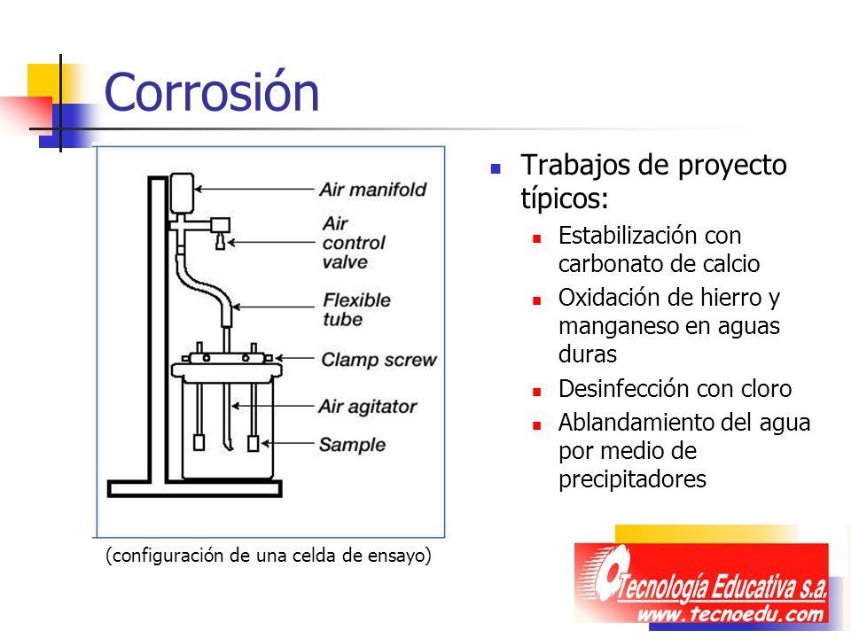 Corrosión Trabajos de proyecto típicos: Estabilización con carbonato de calcio Oxidación de hierro y manganeso en aguas duras Desinfección con cloro A