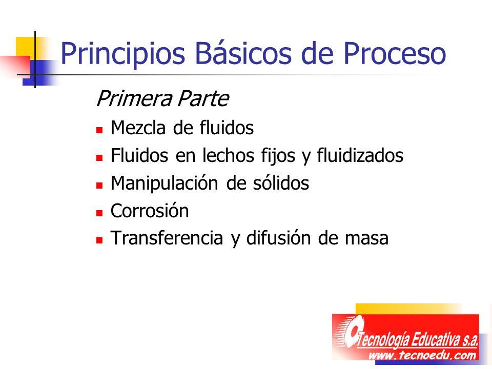Principios Básicos de Proceso Primera Parte Mezcla de fluidos Fluidos en lechos fijos y fluidizados Manipulación de sólidos Corrosión Transferencia y