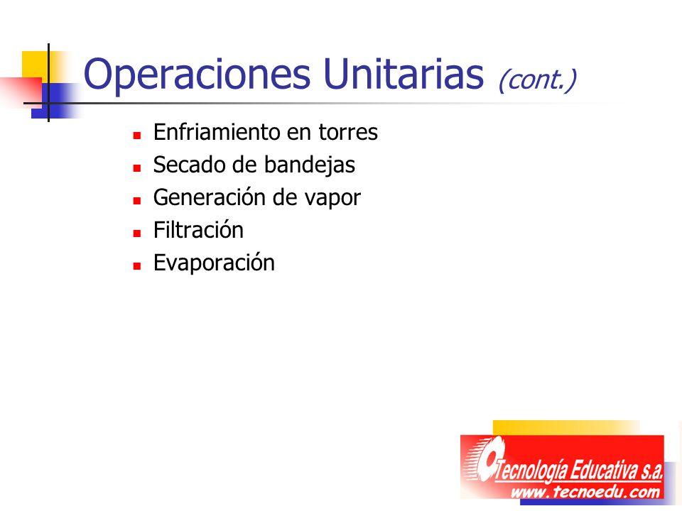 Operaciones Unitarias (cont.) Enfriamiento en torres Secado de bandejas Generación de vapor Filtración Evaporación