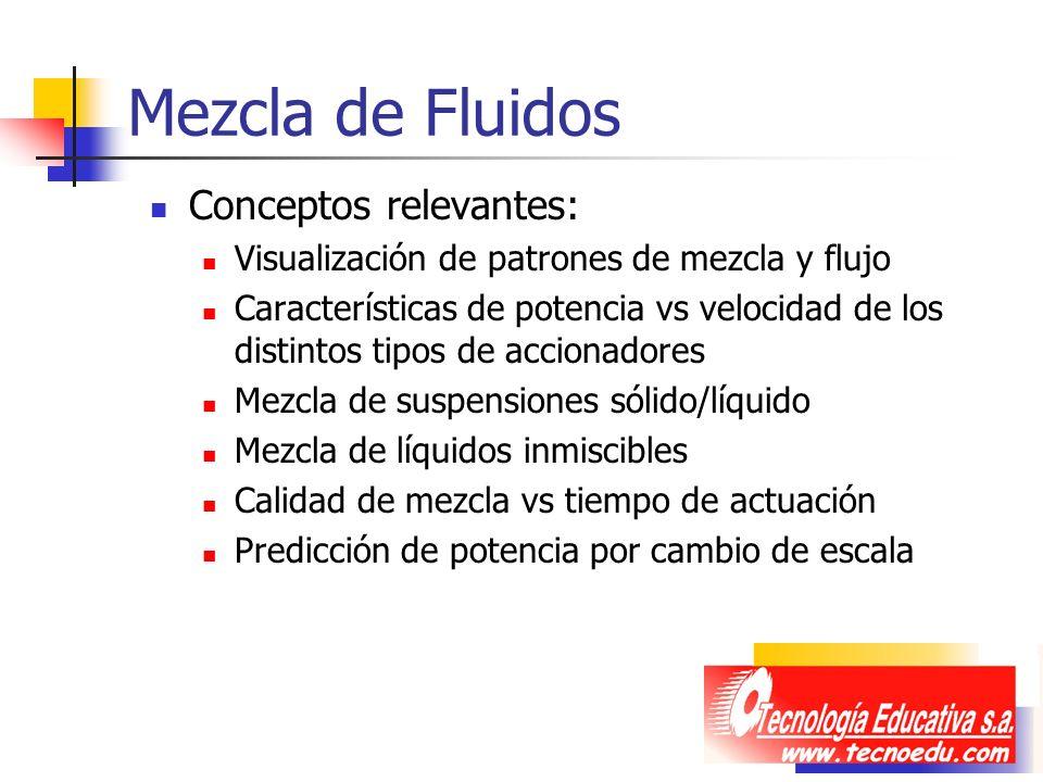 Mezcla de Fluidos Conceptos relevantes: Visualización de patrones de mezcla y flujo Características de potencia vs velocidad de los distintos tipos de