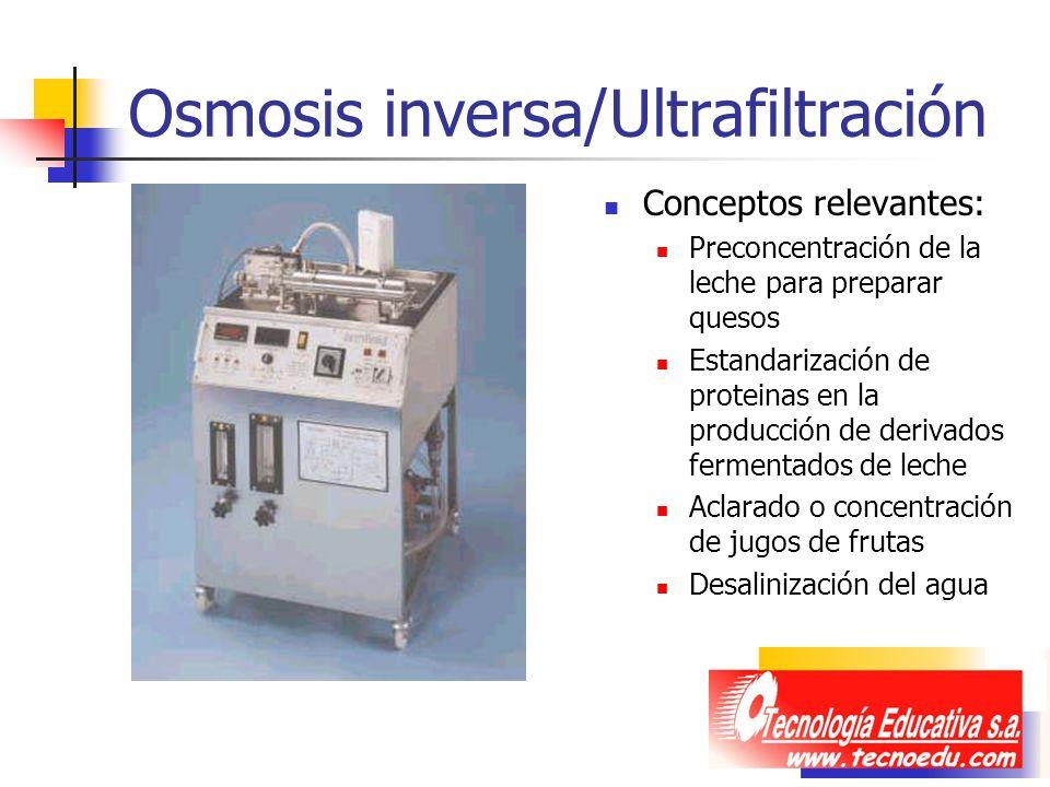 Osmosis inversa/Ultrafiltración Conceptos relevantes: Preconcentración de la leche para preparar quesos Estandarización de proteinas en la producción