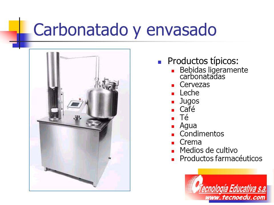 Carbonatado y envasado Productos típicos: Bebidas ligeramente carbonatadas Cervezas Leche Jugos Café Té Agua Condimentos Crema Medios de cultivo Produ