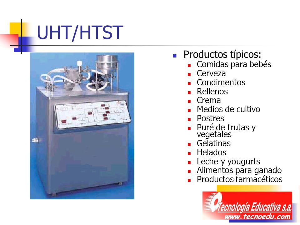 UHT/HTST Productos típicos: Comidas para bebés Cerveza Condimentos Rellenos Crema Medios de cultivo Postres Puré de frutas y vegetales Gelatinas Helad