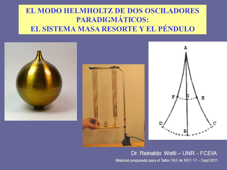 EL MODO HELMHOLTZ DE DOS OSCILADORES PARADIGMÁTICOS: EL SISTEMA MASA RESORTE Y EL PÉNDULO Dr. Reinaldo Welti – UNR - FCEIA Material preparado para el