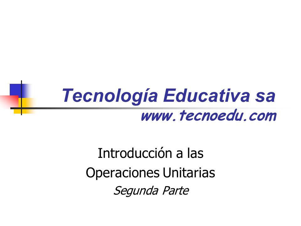 Tecnología Educativa sa www.tecnoedu.com Introducción a las Operaciones Unitarias Segunda Parte