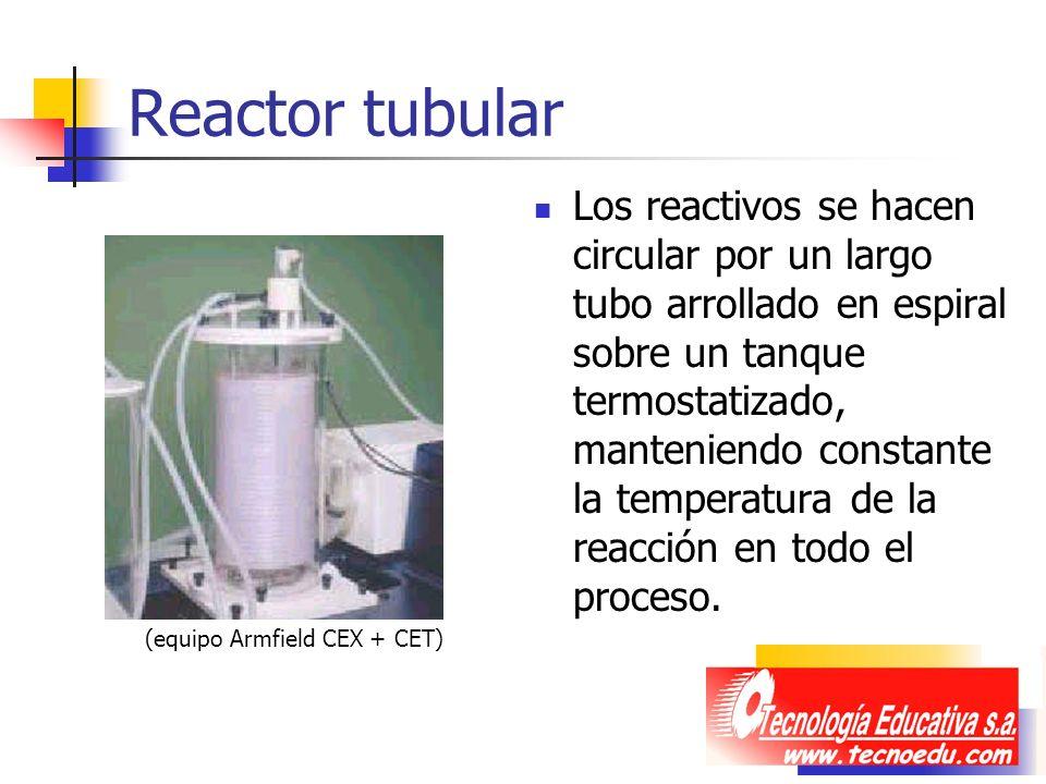 Reactor tubular Los reactivos se hacen circular por un largo tubo arrollado en espiral sobre un tanque termostatizado, manteniendo constante la temper