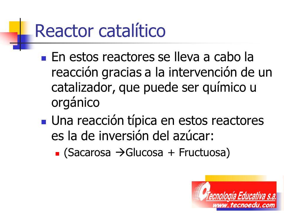 Reactor catalítico En estos reactores se lleva a cabo la reacción gracias a la intervención de un catalizador, que puede ser químico u orgánico Una re