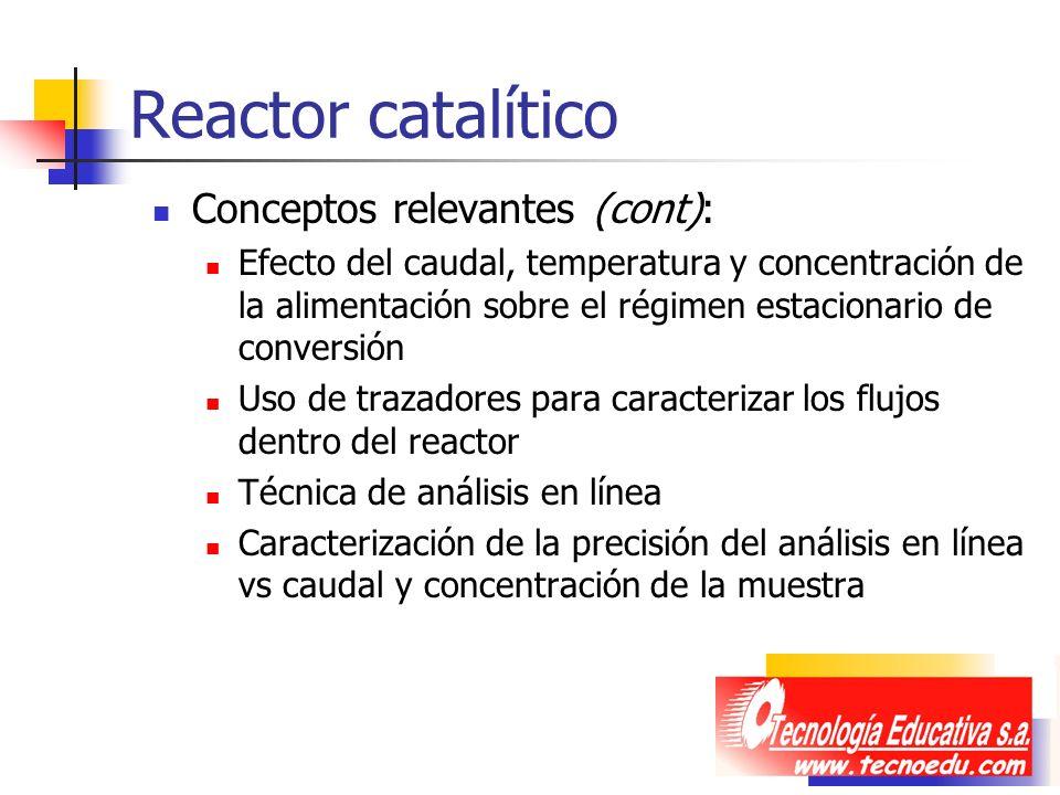 Reactor catalítico Conceptos relevantes (cont): Efecto del caudal, temperatura y concentración de la alimentación sobre el régimen estacionario de con