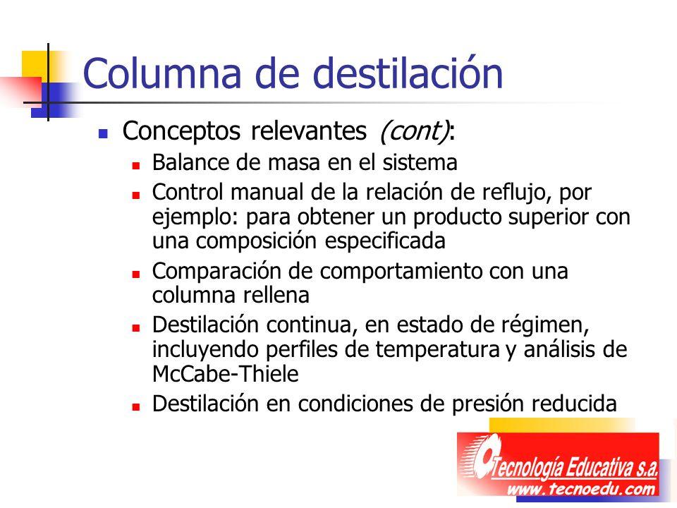Columna de destilación Conceptos relevantes (cont): Balance de masa en el sistema Control manual de la relación de reflujo, por ejemplo: para obtener