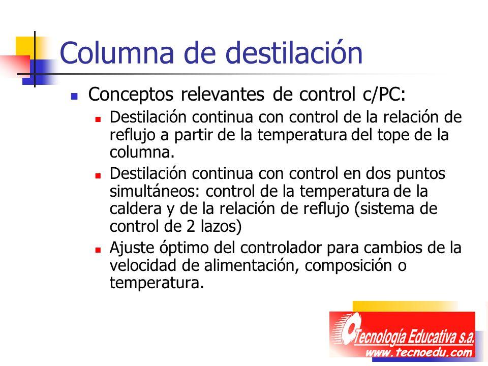 Columna de destilación Conceptos relevantes de control c/PC: Destilación continua con control de la relación de reflujo a partir de la temperatura del