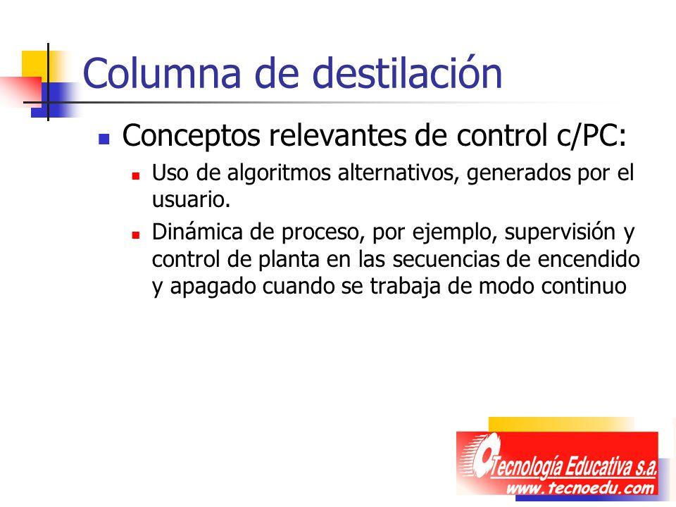 Columna de destilación Conceptos relevantes de control c/PC: Uso de algoritmos alternativos, generados por el usuario. Dinámica de proceso, por ejempl
