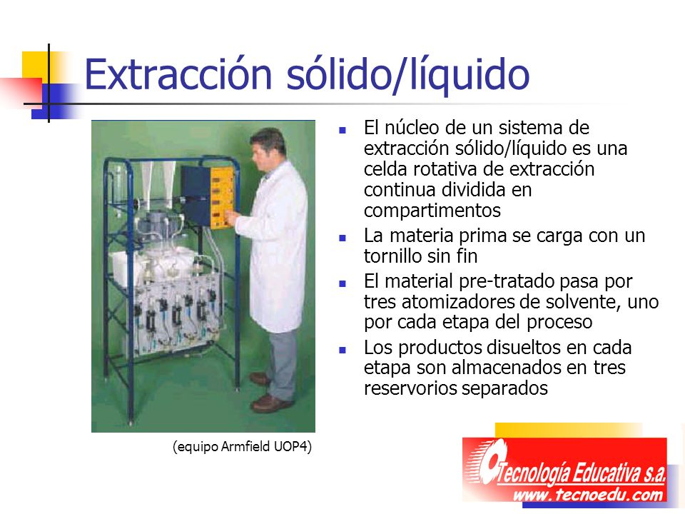 Extracción sólido/líquido El núcleo de un sistema de extracción sólido/líquido es una celda rotativa de extracción continua dividida en compartimentos