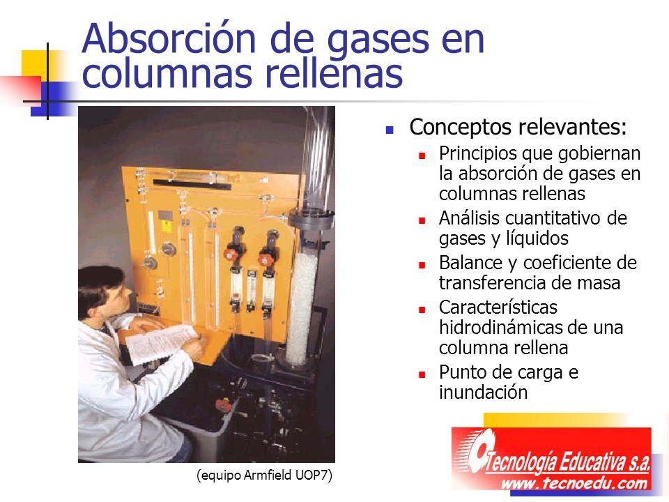 Absorción de gases en columnas rellenas Conceptos relevantes: Principios que gobiernan la absorción de gases en columnas rellenas Análisis cuantitativ