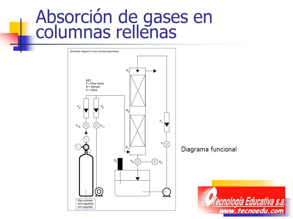 Absorción de gases en columnas rellenas Diagrama funcional