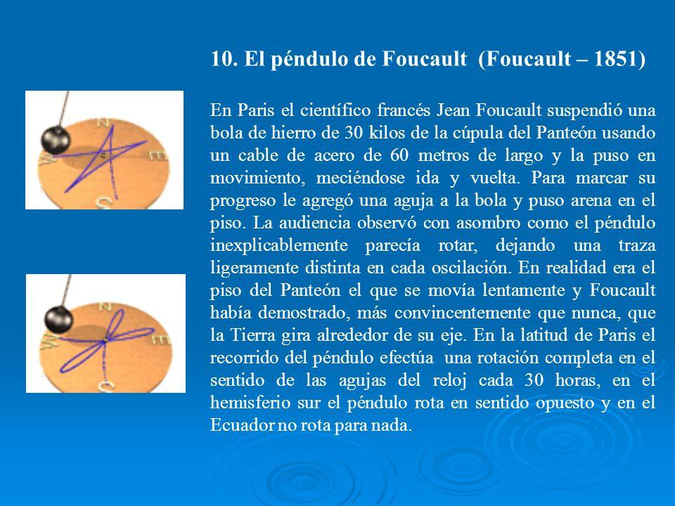 10. El péndulo de Foucault (Foucault – 1851) En Paris el científico francés Jean Foucault suspendió una bola de hierro de 30 kilos de la cúpula del Pa