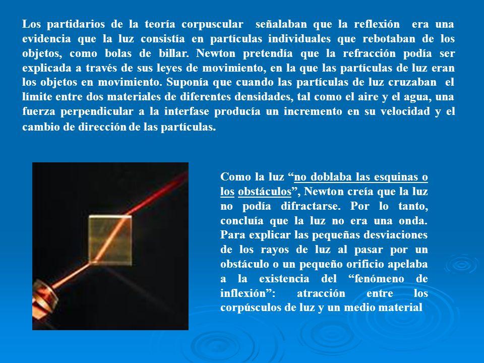 Los partidarios de la teoría corpuscular señalaban que la reflexión era una evidencia que la luz consistía en partículas individuales que rebotaban de