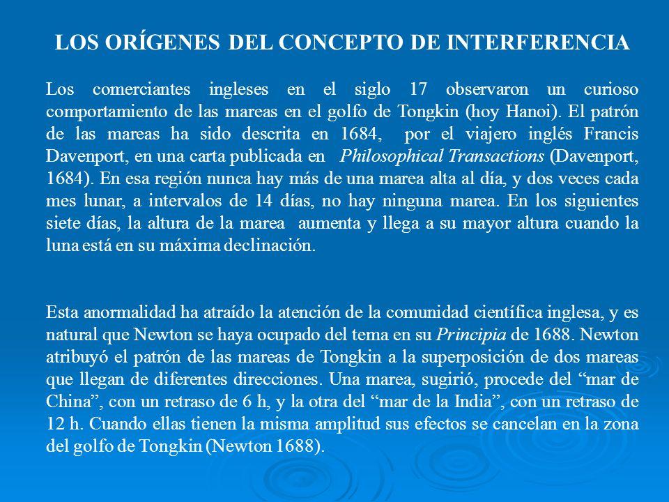 LOS ORÍGENES DEL CONCEPTO DE INTERFERENCIA Los comerciantes ingleses en el siglo 17 observaron un curioso comportamiento de las mareas en el golfo de