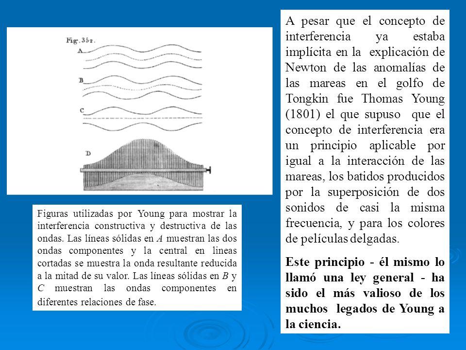 A pesar que el concepto de interferencia ya estaba implícita en la explicación de Newton de las anomalías de las mareas en el golfo de Tongkin fue Tho