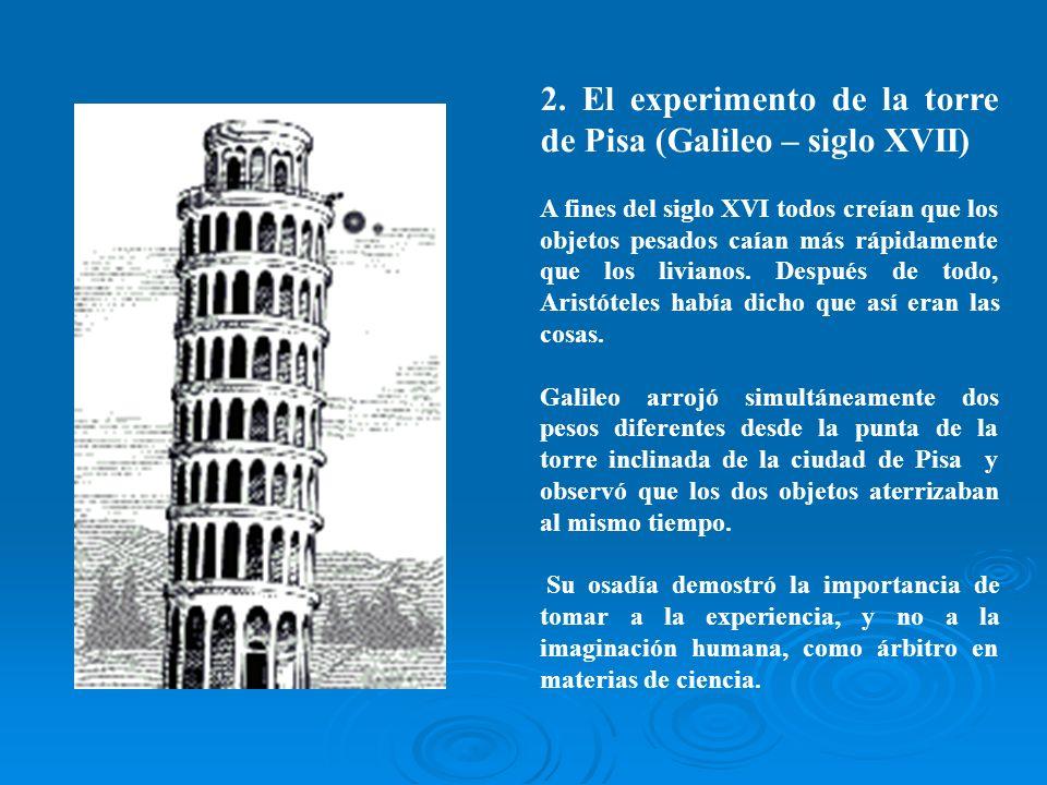 2. El experimento de la torre de Pisa (Galileo – siglo XVII) A fines del siglo XVI todos creían que los objetos pesados caían más rápidamente que los