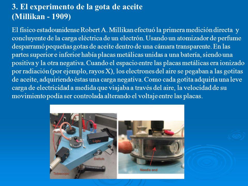 3. El experimento de la gota de aceite (Millikan - 1909) El físico estadounidense Robert A. Millikan efectuó la primera medición directa y concluyente