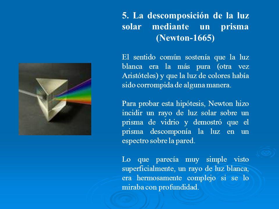 5. La descomposición de la luz solar mediante un prisma (Newton-1665) El sentido común sostenía que la luz blanca era la más pura (otra vez Aristótele