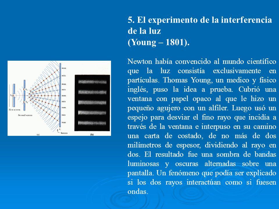 5. El experimento de la interferencia de la luz (Young – 1801). Newton había convencido al mundo científico que la luz consistía exclusivamente en par