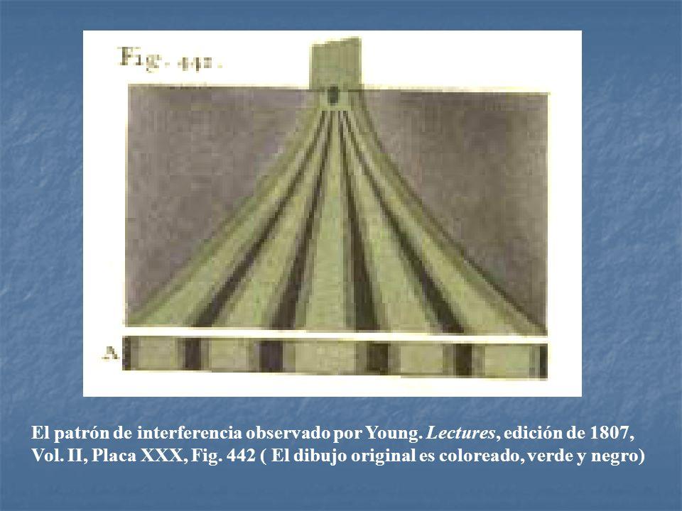 El patrón de interferencia observado por Young. Lectures, edición de 1807, Vol. II, Placa XXX, Fig. 442 ( El dibujo original es coloreado, verde y neg