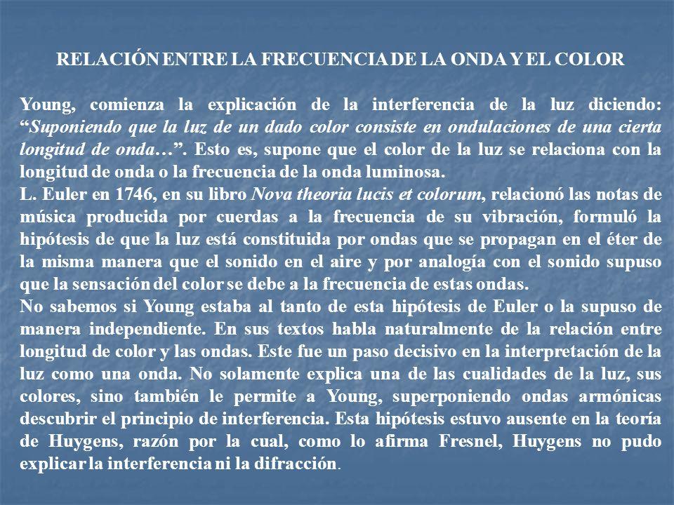 RELACIÓN ENTRE LA FRECUENCIA DE LA ONDA Y EL COLOR Young, comienza la explicación de la interferencia de la luz diciendo:Suponiendo que la luz de un d