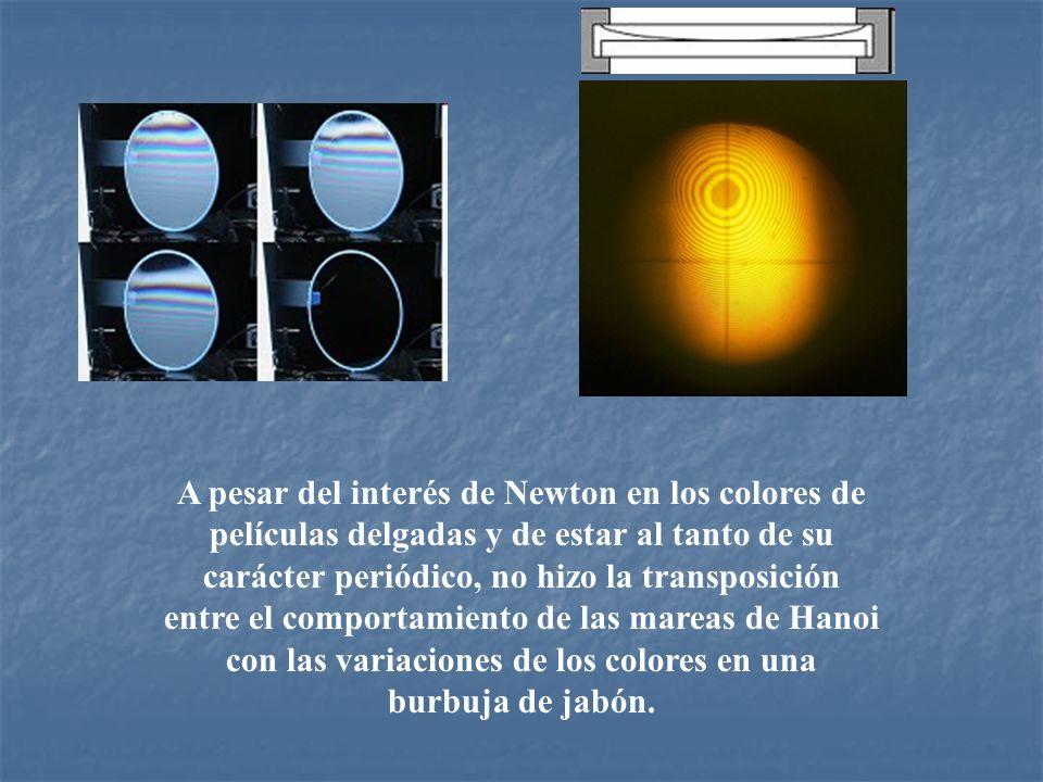 A pesar del interés de Newton en los colores de películas delgadas y de estar al tanto de su carácter periódico, no hizo la transposición entre el com