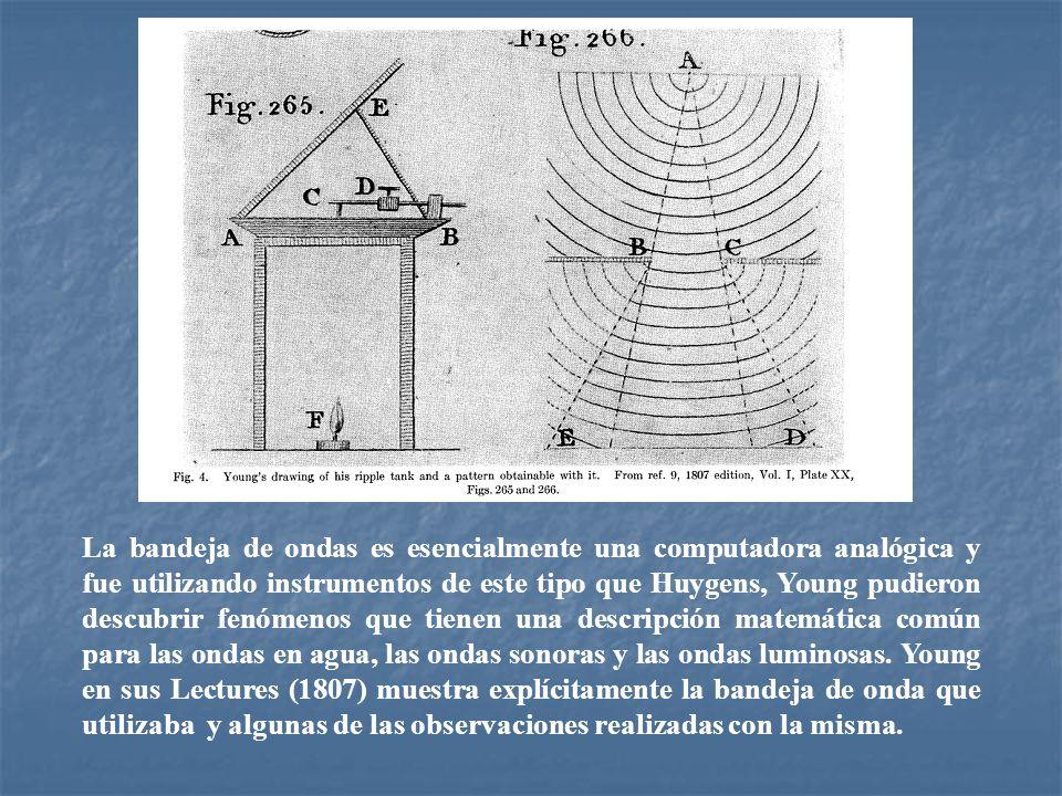 La bandeja de ondas es esencialmente una computadora analógica y fue utilizando instrumentos de este tipo que Huygens, Young pudieron descubrir fenóme