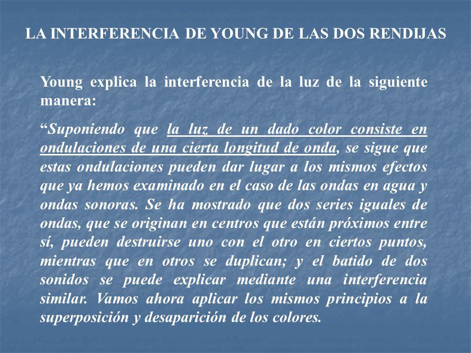 LA INTERFERENCIA DE YOUNG DE LAS DOS RENDIJAS Young explica la interferencia de la luz de la siguiente manera: Suponiendo que la luz de un dado color