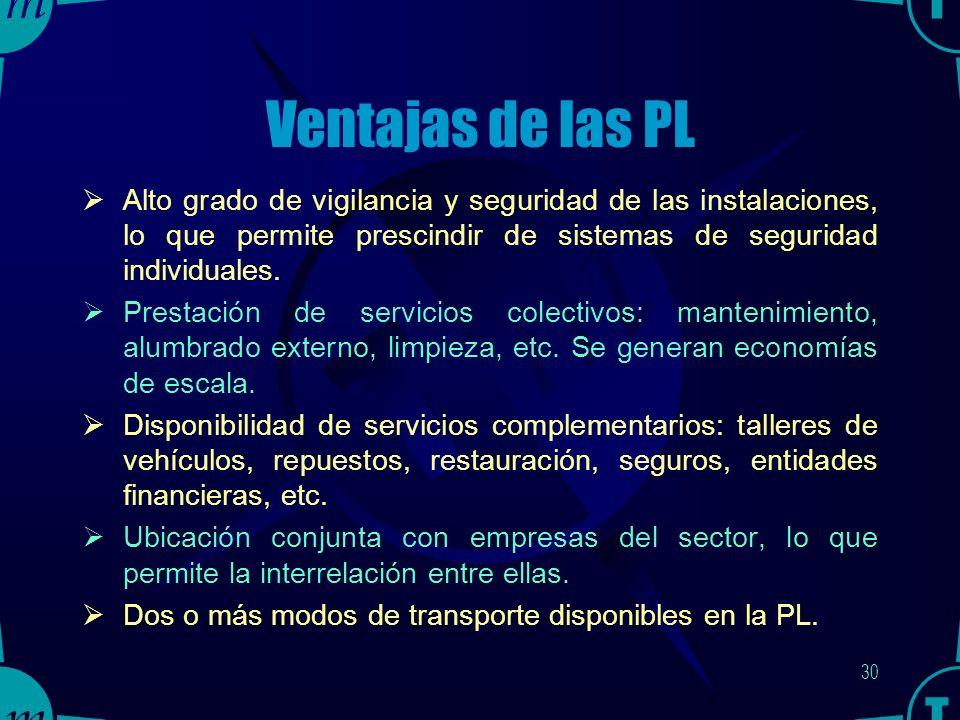 29 Ventajas de las PL Instalaciones físicas de diseño idóneo para las actividades logísticas y comerciales que en ellas se desarrollan.