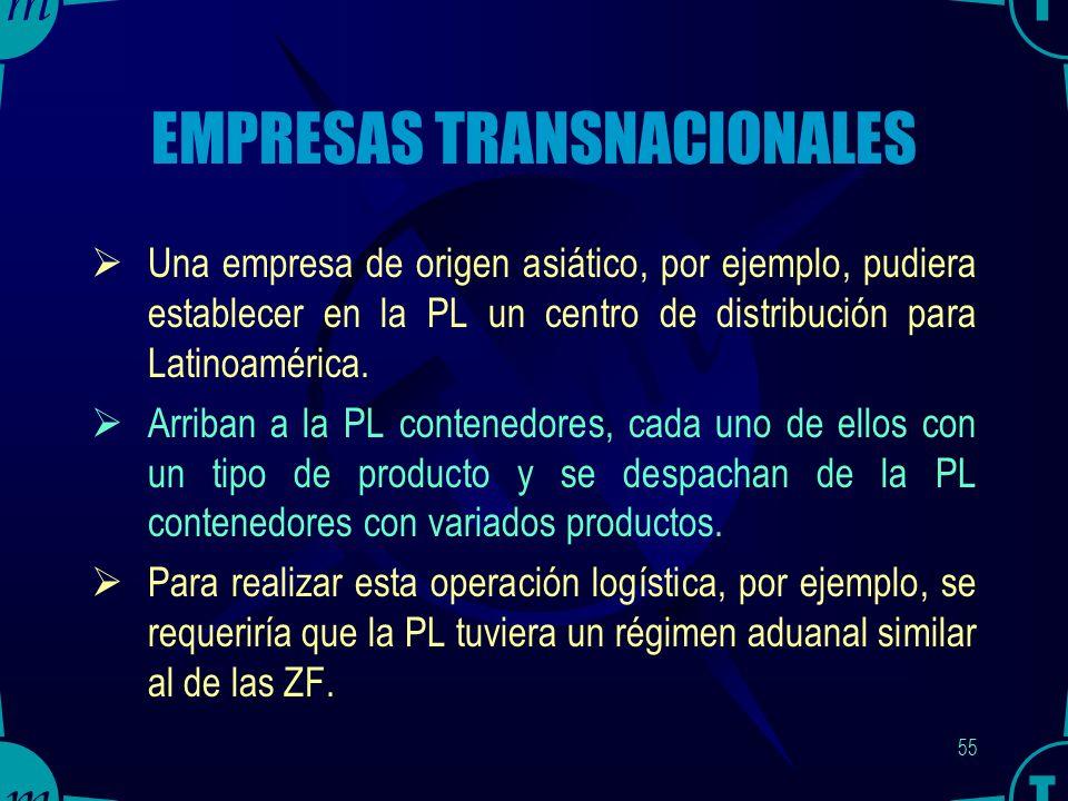 54 EXPORTADORES Los exportadores utilizan a la PL como el almacén de productos terminados para exportar.