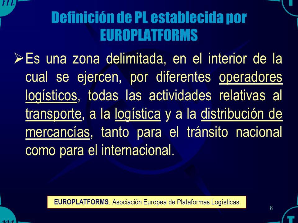 5 Concepto de Plataforma Logística (PL) Puntos o Áreas de ruptura de las cadenas de transporte y logística, en los que se concentran actividades y funciones técnicas y de valor añadido.