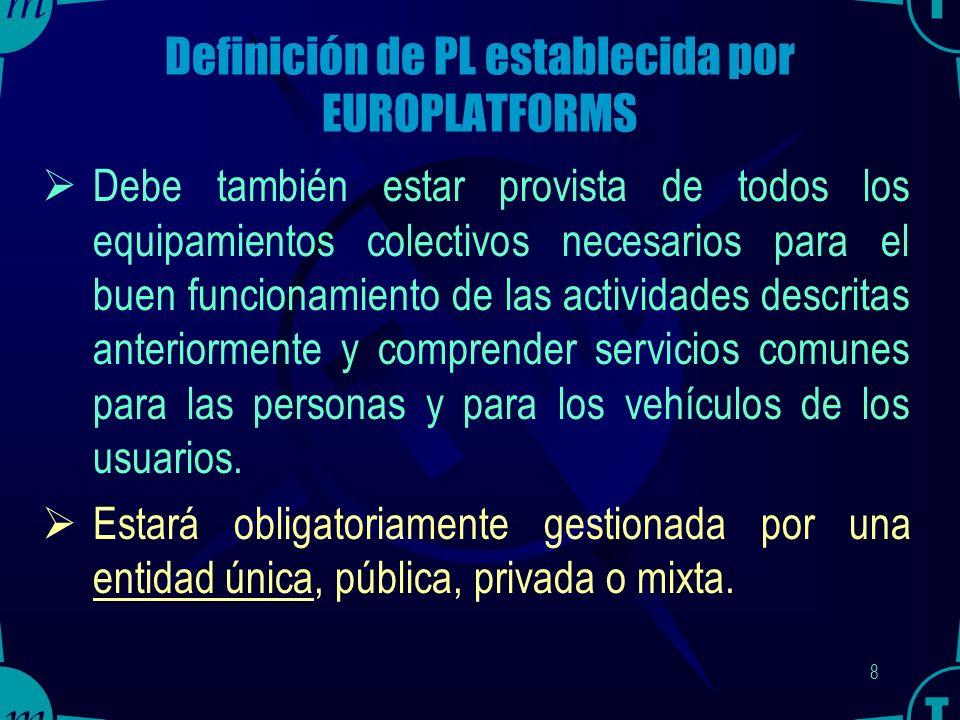 7 Definición de PL establecida por EUROPLATFORMS Una plataforma debe tener un régimen de libre concurrencia, para todas las empresas interesadas por las actividades anunciadas.