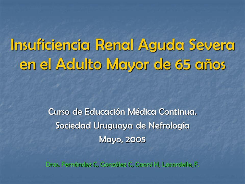 Insuficiencia Renal Aguda Severa en el Adulto Mayor de 65 años Curso de Educación Médica Continua. Sociedad Uruguaya de Nefrología Mayo, 2005 Dras. Fe