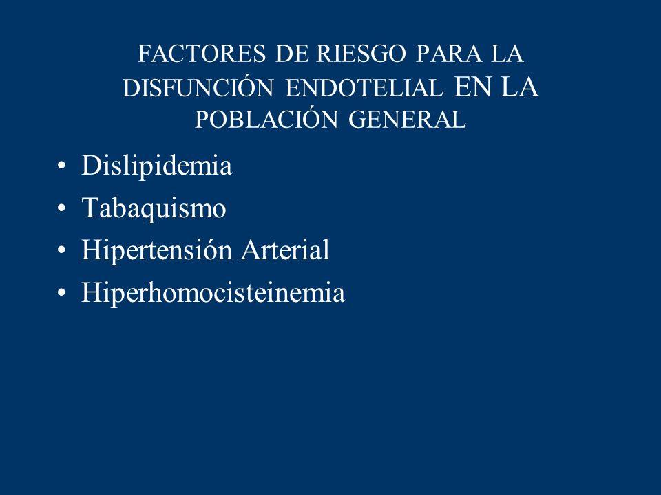 FACTORES DE RIESGO PARA LA DISFUNCIÓN ENDOTELIAL EN LA POBLACIÓN GENERAL Dislipidemia Tabaquismo Hipertensión Arterial Hiperhomocisteinemia