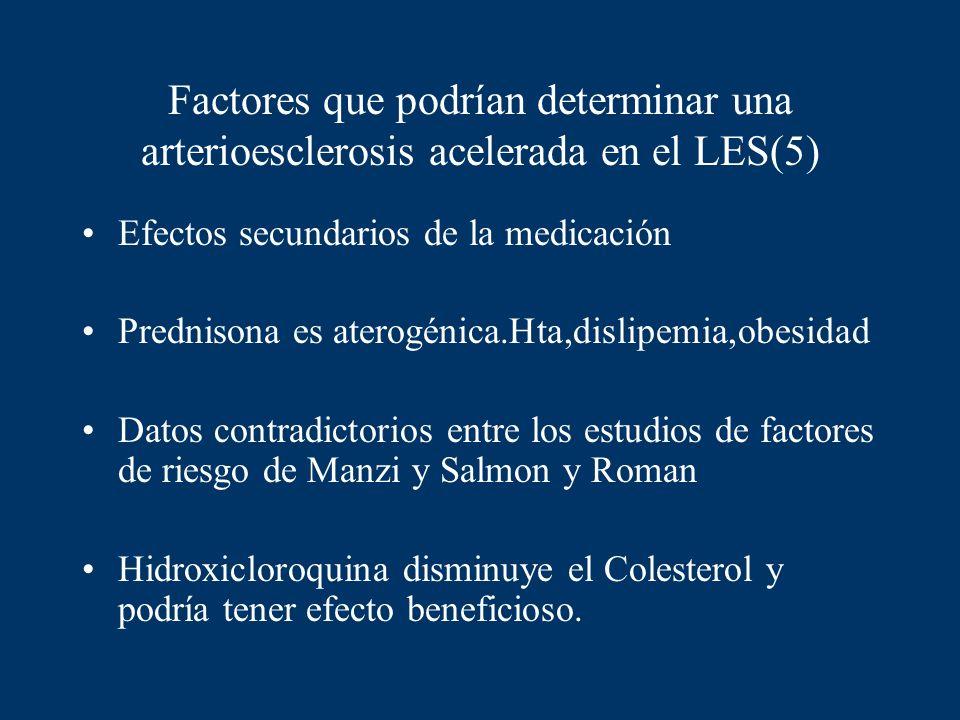 Factores que podrían determinar una arterioesclerosis acelerada en el LES(5) Efectos secundarios de la medicación Prednisona es aterogénica.Hta,dislip