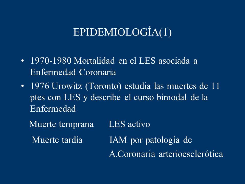 EPIDEMIOLOGÍA(1) 1970-1980 Mortalidad en el LES asociada a Enfermedad Coronaria 1976 Urowitz (Toronto) estudia las muertes de 11 ptes con LES y descri
