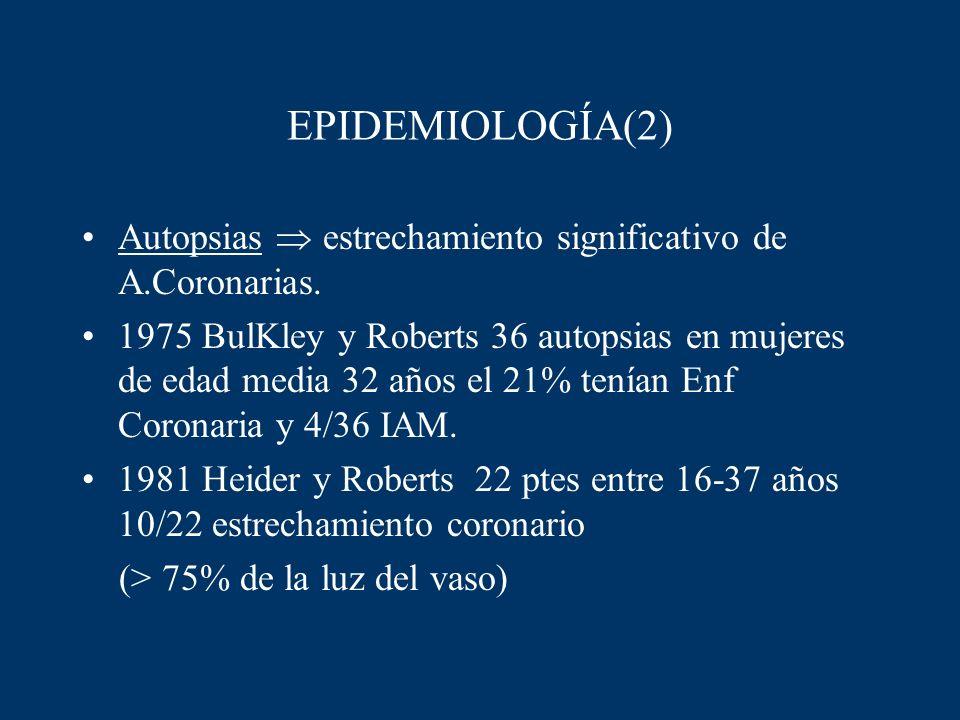 EPIDEMIOLOGÍA(2) Autopsias estrechamiento significativo de A.Coronarias. 1975 BulKley y Roberts 36 autopsias en mujeres de edad media 32 años el 21% t