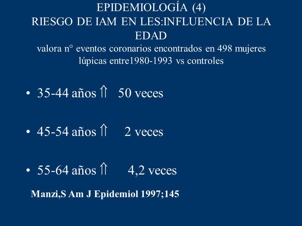 EPIDEMIOLOGÍA (4) RIESGO DE IAM EN LES:INFLUENCIA DE LA EDAD valora n° eventos coronarios encontrados en 498 mujeres lúpicas entre1980-1993 vs control