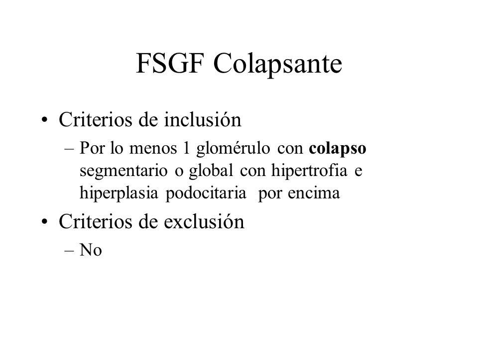 FSGF Colapsante Criterios de inclusión –Por lo menos 1 glomérulo con colapso segmentario o global con hipertrofia e hiperplasia podocitaria por encima