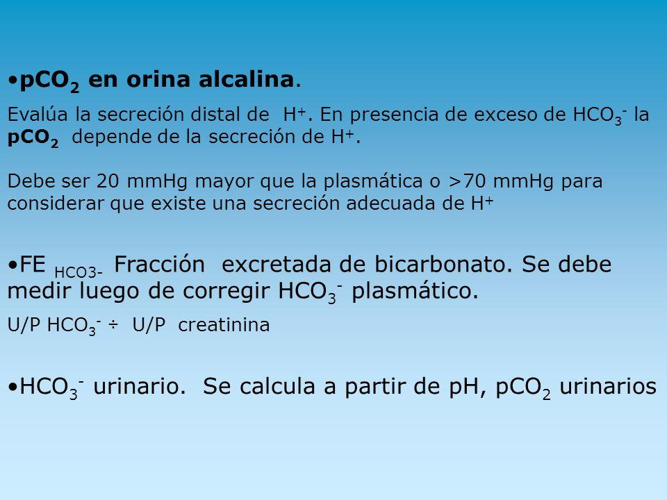 pCO 2 en orina alcalina. Evalúa la secreción distal de H +. En presencia de exceso de HCO 3 - la pCO 2 depende de la secreción de H +. Debe ser 20 mmH